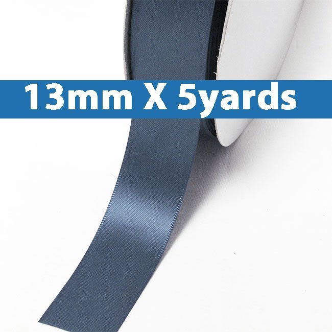 """# 363 smoke blue Color 13mm/0.5"""" Wide 5 Yards Double Faced Satin Ribbon (#28800 X5 Yards)"""