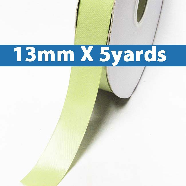 """# 524 lime juice Color 13mm/0.5"""" Wide 5 Yards Double Faced Satin Ribbon (#28800 X5 Yards)"""