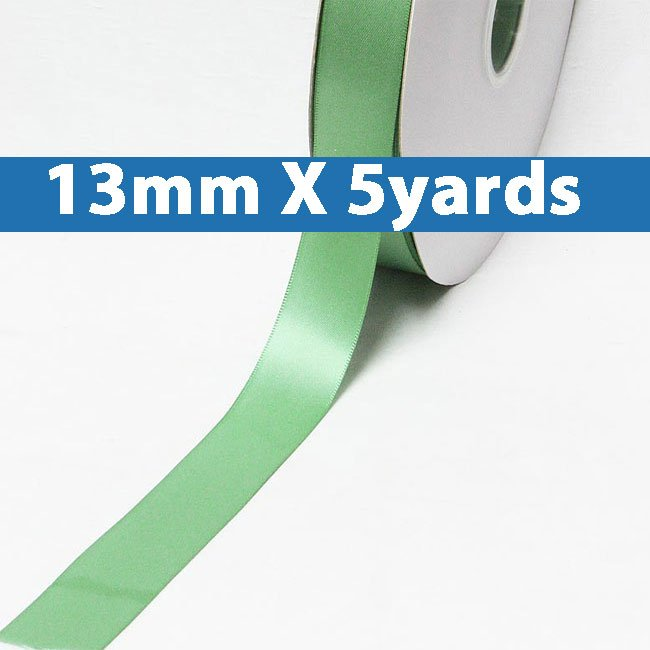 """# 564 celadon Color 13mm/0.5"""" Wide 5 Yards Double Faced Satin Ribbon (#28800 X5 Yards)"""