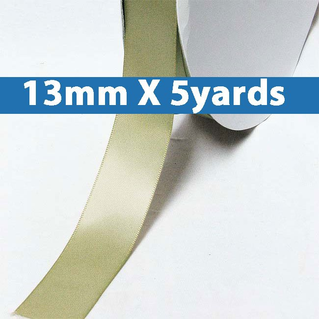 """# 566 soft pine Color 13mm/0.5"""" Wide 5 Yards Double Faced Satin Ribbon (#28800 X5 Yards)"""