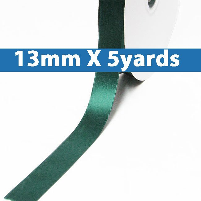 "# 589 hunter Color 13mm/0.5"" Wide 5 Yards Double Faced Satin Ribbon (#28800 X5 Yards)"