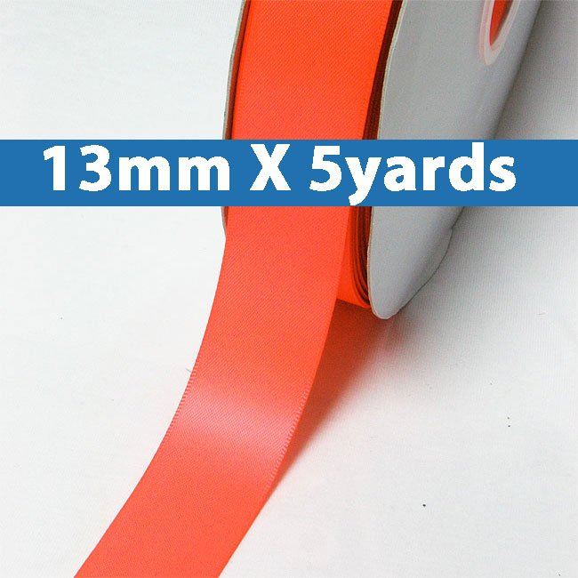 """# 600 neon orange Color 13mm/0.5"""" Wide 5 Yards Double Faced Satin Ribbon (#28800 X5 Yards)"""