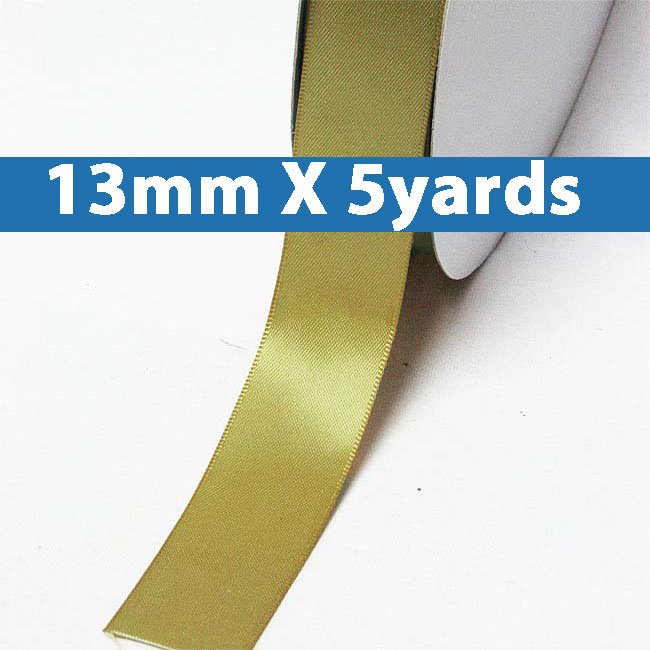 """# 686 golden olive Color 13mm/0.5"""" Wide 5 Yards Double Faced Satin Ribbon (#28800 X5 Yards)"""