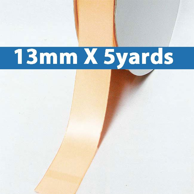 "# 714 petal peach Color 13mm/0.5"" Wide 5 Yards Double Faced Satin Ribbon (#28800 X5 Yards)"