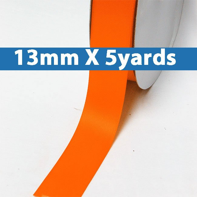"# 750 torrid orange Color 13mm/0.5"" Wide 5 Yards Double Faced Satin Ribbon (#28800 X5 Yards)"