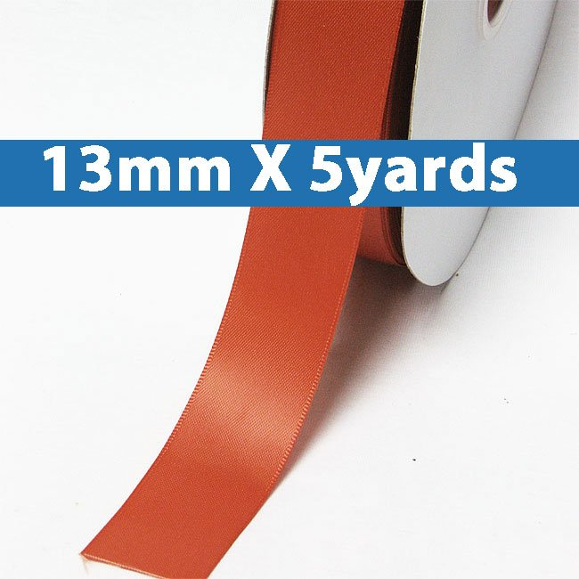 "# 765 mandarin orange Color 13mm/0.5"" Wide 5 Yards Double Faced Satin Ribbon (#28800 X5 Yards)"