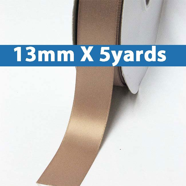 """# 779 pecan brown Color 13mm/0.5"""" Wide 5 Yards Double Faced Satin Ribbon (#28800 X5 Yards)"""