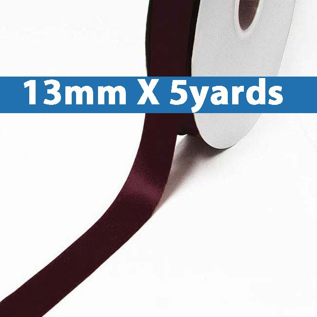 "# 793 raisin Color 13mm/0.5"" Wide 5 Yards Double Faced Satin Ribbon (#28800 X5 Yards)"