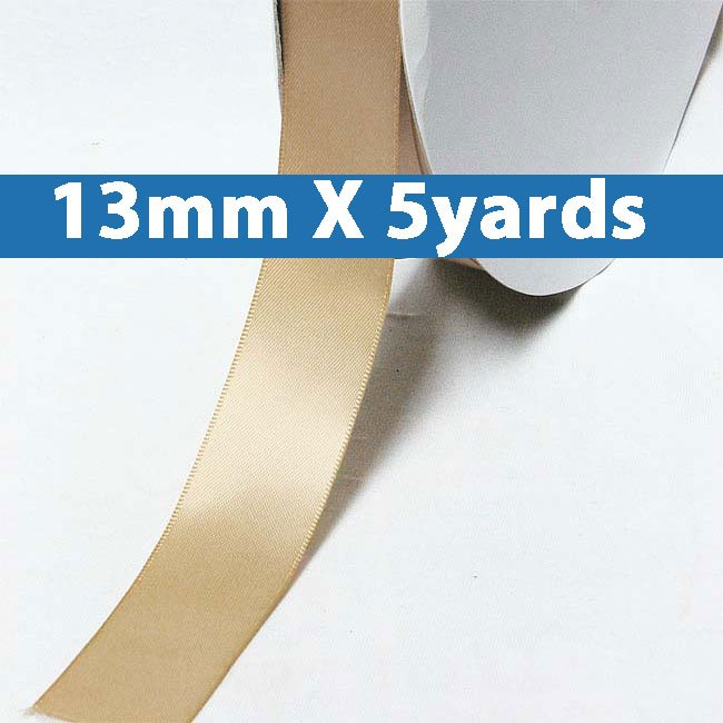 "# 835 tan Color 13mm/0.5"" Wide 5 Yards Double Faced Satin Ribbon (#28800 X5 Yards)"