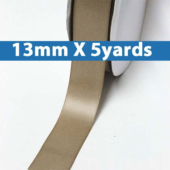 """# 838 fossil Color 13mm/0.5"""" Wide 5 Yards Double Faced Satin Ribbon (#28800 X5 Yards)"""