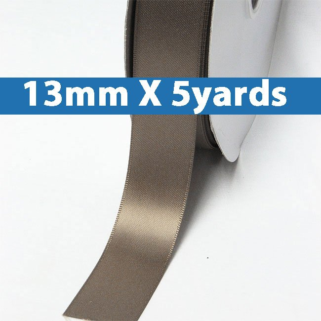 "# 839 chocolate chip Color 13mm/0.5"" Wide 5 Yards Double Faced Satin Ribbon (#28800 X5 Yards)"