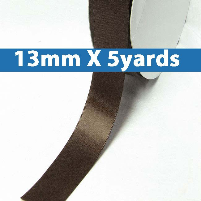 """# 855 black coffee Color 13mm/0.5"""" Wide 5 Yards Double Faced Satin Ribbon (#28800 X5 Yards)"""