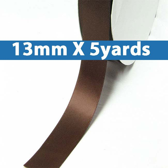 """# 870 friar brown Color 13mm/0.5"""" Wide 5 Yards Double Faced Satin Ribbon (#28800 X5 Yards)"""