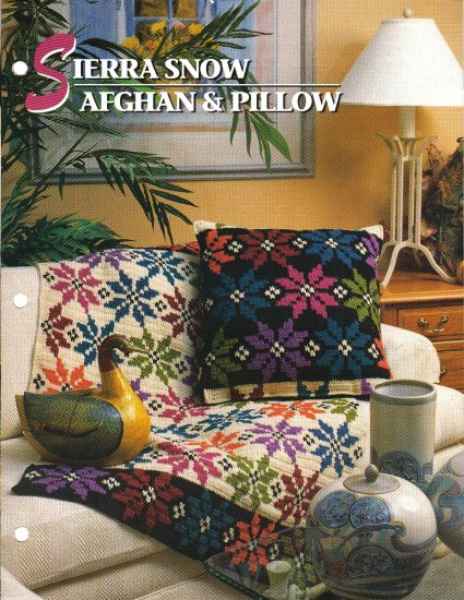 Annie�s Attic Q & A Club~ Sierra Snow Afghan & Pillow~ Free Shipping