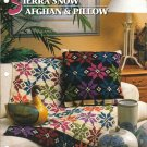 Annie's Attic Q & A Club~ Sierra Snow Afghan & Pillow~ Free Shipping