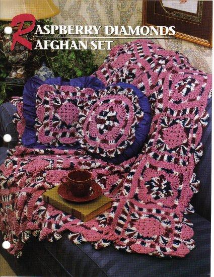 Annie�s Attic Q & A Club~ Raspberry Diamonds Afghan Set~ Free Shipping