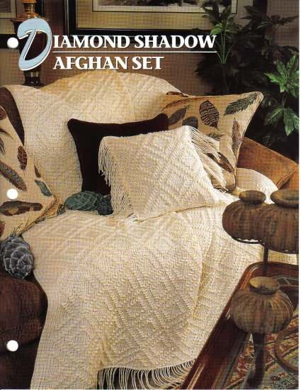 Annie�s Attic Q & A Club~ Diamond Shadow Afghan Set~ Free Shipping