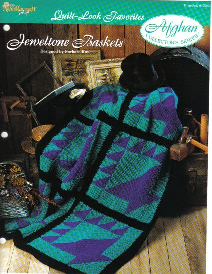 Needlecraft Shop~ Afghan Collector�s Series~ Jeweltone Baskets~ Free Shipping