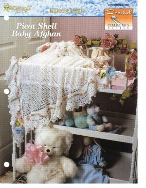 Needlecraft Shop~ Crochet Collector's Series~ Picot Shell Baby Afghan~ Crochet Pat~ Free Shipping