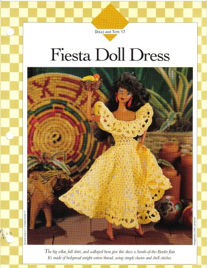 Vanna�s Afghan & Crochet Favorites~ Fiesta Doll Dress~ Free Shipping