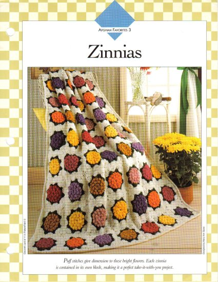 Vanna�s Afghan & Crochet Favorites~ Zinnias~ Crochet Pattern~ Free Shipping