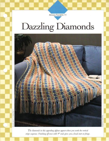 Vanna�s Afghan & Crochet Favorites~ Dazzling Diamonds~ Crochet Pattern~ Free Shipping