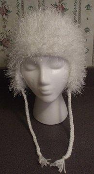 GIrls~ Furry Earflap Hat W/Braids~ White~ Free Shipping