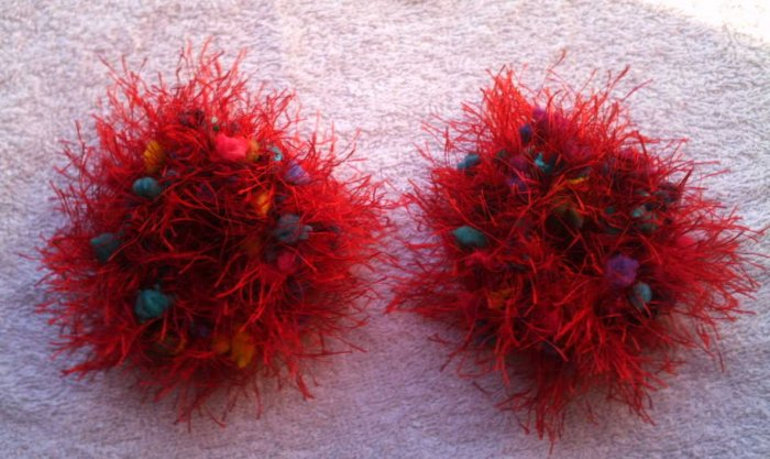 Pigtail Hair Scrunchie Scrunchies Pair~ Rainbow Red~ Free Shipping