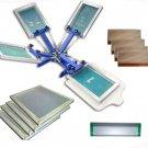 FAST FREE shipping 4 color silk screen printing kit t-shirt printer press equipment carousel frame