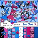 Let's Cheer #2 Fuschia & Blue Digital Scrapbooking Kit