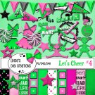 Let's Cheer #4 Pink & Green Digital Scrapbooking Kit