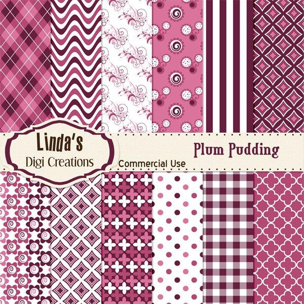 Plum Pudding (Digital paper Pack)