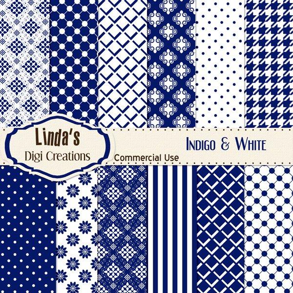 Indigo & White (Digital Paper Pack)