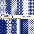 Indigo & White (Digital Paper Pack)