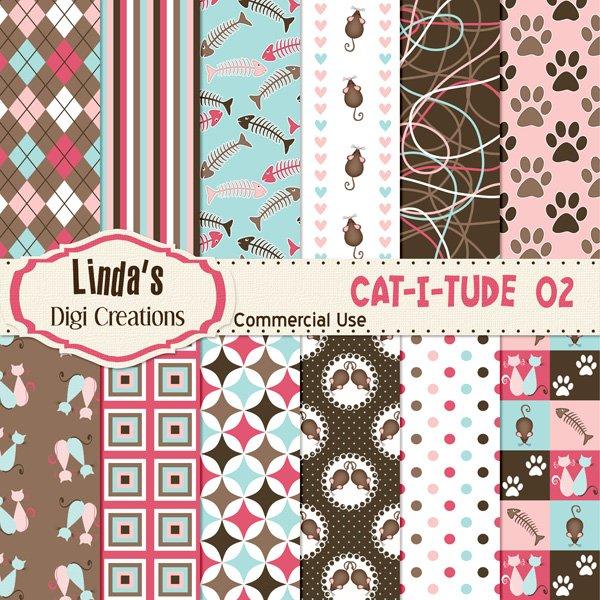 Cat-I-Tude 02 (Digital Paper Pack)