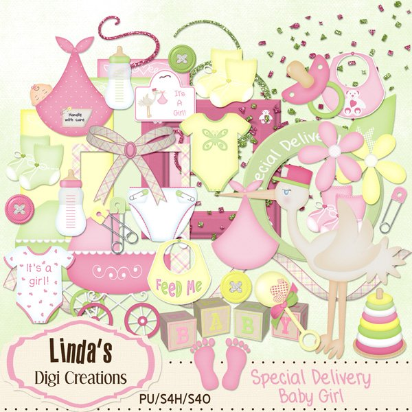 Special Delivery Baby Girl  (Digital Scrap Kit)