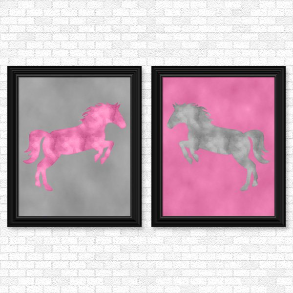 Pink & Gray Horse set - Printable Wall Art