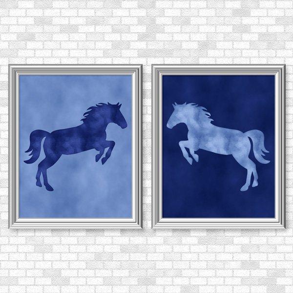 Blue Horse Set - Printable Wall Art