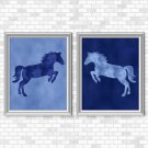Blue Horse Set - Printable Wall Art