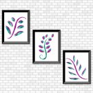Purple & Turquoise Foliage Set - Printable Wall Art