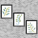 Blue & Green Foliage Set - Printable Wall Art