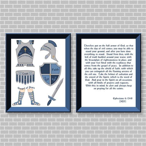 Armor Of God (Blue Set) Printable Wall Art