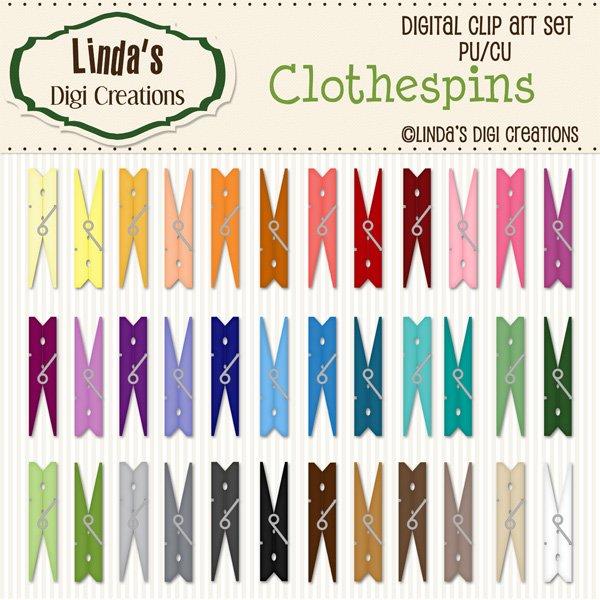 Clothespins (Clip Art Set)