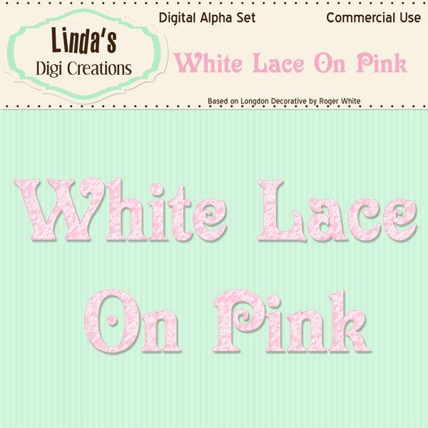 White Lace On Pink Digital Alpha Set