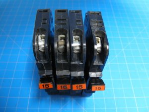 Quantity of 4 - 15 Amp Federal Pacific Breakers Stab-Lok FPE Type NC GUARANTEED