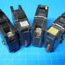 "Lot of 4 FEDERAL PACIFIC FPE 15 & 20 Amp 1 pole 1"" wide Breaker Black Plastic"