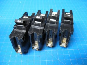 Lot of 4 Federal Pacific or AMERICAN Stab-Lok 20 Amp Single Pole Bolt On Breaker