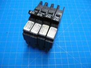 Set of Four 20 AMP Federal Pacific Challenger FPE Stab-Lok Single Pole Breakers