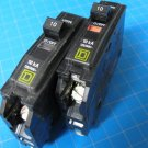 Set Of TWO Square D 10 AMP SQ D Type QO Circuit Breakers Free Shipping !