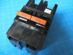 "Used FEDERAL PACIFIC FPE Stab-Lok 50 Amp 2"" Wide 2 Pole Breaker"